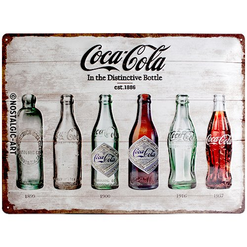 Nostalgic-Art Coca-Cola – Bottle Timeline – Geschenk-Idee für Coke-Fans, Retro Blechschild, aus Metall, Vintage-Design zur Dekoration, 30 x 40 cm