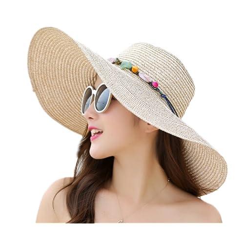 b2c1b962774d2 Fablcrew - Sombreros de paja de color liso con ala ancha