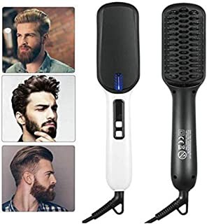 Men's Ionic Beard Straightener Comb, Dual Voltage (100V-240V) Quick Hair Styler Ionic Beard Straightening Heat Brush PTC Ceramic Technology, Curling Hair Comb Electric Hair Comb for Men Women