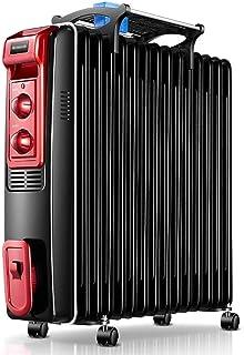 Radiador de Aceite,2500W/15 Elementos de disipación de calor Calentador eléctrico portátil - 3 configuraciones de temperatura, termostato y de cierre de seguridad, para la seguridad del uso - Negro