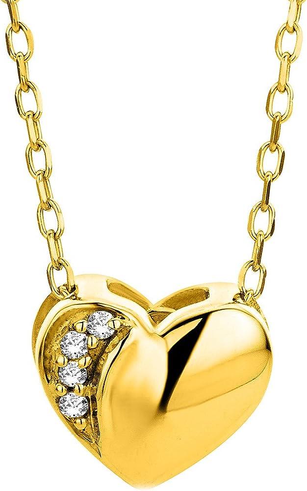 Orovi collana con ciondolo a forma di cuore per donna in oro giallo 9 kt / 375 (1.35 gr) con diamanti OR8926N