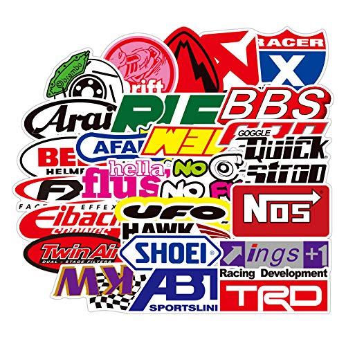ZXXC 50Pcs Racing Motorcycle Logo Graffiti Sticker Car Trolley Case Waterproof Sticker