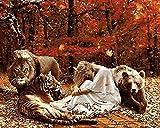Lsdakoop Pintura por números Kitleón Tigre Bellza y Osodiy pintura al óleo por números, pintura al óleo para adultos de 40 x 50 cm (sin marco)