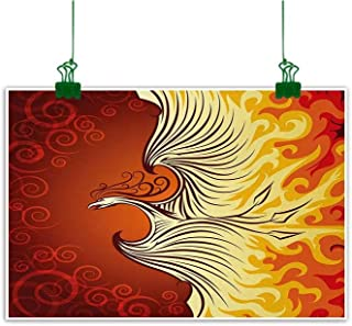 Unpremoon Orange Painting Illustration of Flying Phoenix Bird in The Burning Flame Mythical Creature Print Wall Painting Orange Yellow W 47