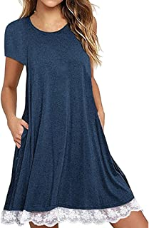 Women's Casual Dress, E-Scenery Solid Lace Short Sleeve O-Neck Above Knee Loose Dresses