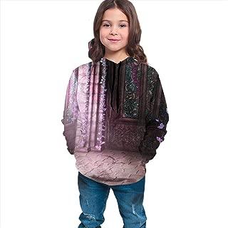 Boys Girls Hoodies Pullover Unisex 3D Corridor Vine Flower Print Sweatshirts Hooded with Pocket 6-16Y