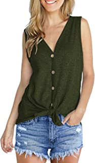 3bfe95871447a IWOLLENCE Womens Waffle Knit Tunic Blouse Tie Knot Henley Tops Loose  Fitting Plain Shirts