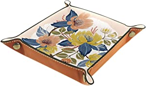 Floral Yellow and Baby Pink Flowers Valet Tray Storage Organizer Box Coin Tray Key Tray Nightstand Desk Microfiber Leather Pouch,16x16cm