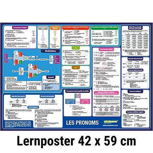 mindmemo Lernposter - Les pronoms - Die französischen Pronomen lernen Grammatik verständlich erklärt Lernhilfe kompakt Zusammenfassung Poster DIN A2 42x59 cm PremiumEdition Transportrolle