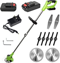 YASSIMY Cordless Grass Trimmer Lawn Mower, Electric Garden Handheld Strimmer with Lithium-ion Battery, 2 Blades, 850W Motor