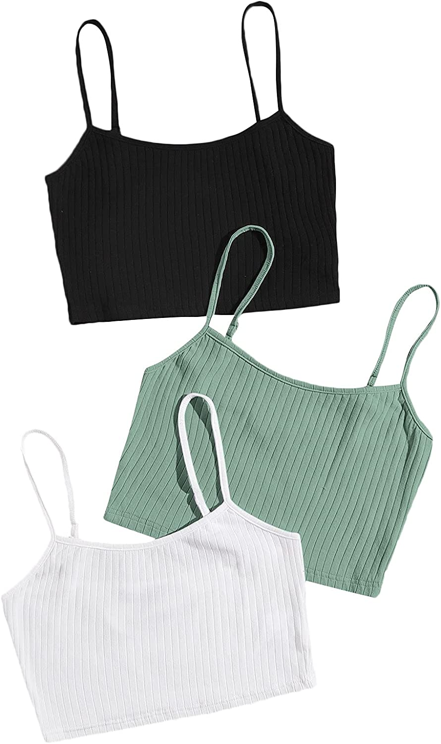 Milumia Women's 3 Piece Adjustable Spaghetti Strap Ribbed Knit Cami Crop Top Set Pack 3