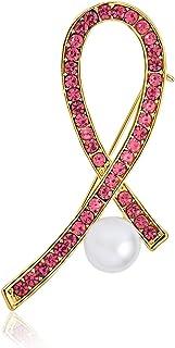 Bling Jewelry Bianco Simulato Perla Cristallo Pave Rosa Nastro Petto Cancro Sopravvissuto Rosa Cristallo Spilla Spilla per...
