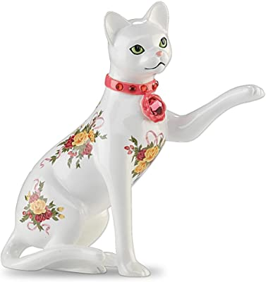 The Hamilton Collection Rose-Patterned Cat Figurine Paws of Elegance