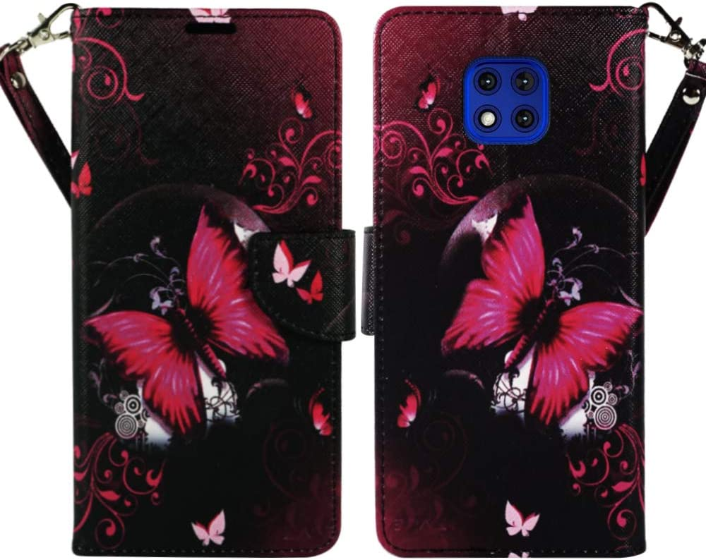 ZASE Moto G Power 2021 Wallet Phone Case PU Leather Flip Folio Pouch for Women Cute Design Cover w/Kickstand ID Holder Card Slot Wrist Strap for Motorola G Power (2021) 6.6-inch (Hot Pink Butterfly)