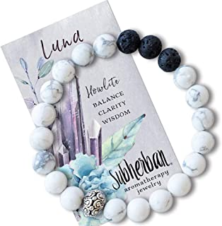 Subherban Essential Oil Bracelets - Aromatherapy Bracelet - LUNA Lava Rock Anxiety Bracelet - Handmade Jewelry - Gifts for Women