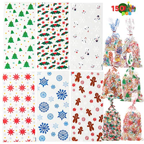 JOYIN 150 PCS Christmas Cellophane Clear Treat Bags Candy Bags with Twist Ties for Christmas Party Favors Supplies