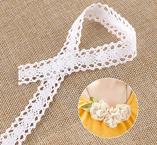 ABSOFINE 15M Vintage Spitzenband Borte aus Baumwolle Dekoband Zierband Spitzenstoff Spitzenborte für Nähen Handwerk Hochzeit Deko Scrapbooking Geschenkbox (Weiss)