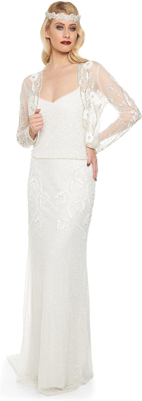 Gatsbylady london Tess Vintage Inspired Bolero in Off White