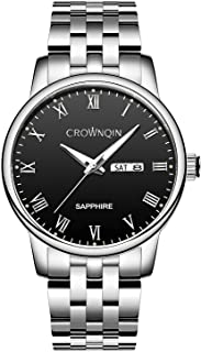 Stainless Steel Mens Silver Watch, CROWNQIN Fashion Business Thin Watches for Men165ft Waterproof...