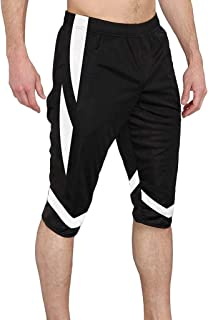 Remanlly Men's Shorts Elastic Waistband Patchwork Sports Shorts Household Trousers