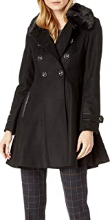 Via Spiga Women's Double Breasted Faux Fur Club Collar Fit 'n Flare Coat