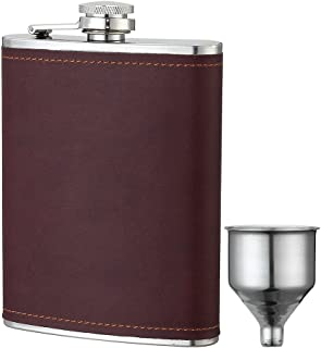 YWQ 8oz Stainless Steel Brown PU Leather Flask, Heavy Duty Hip Flask Gift Set,Includes Funnel and Gift Box