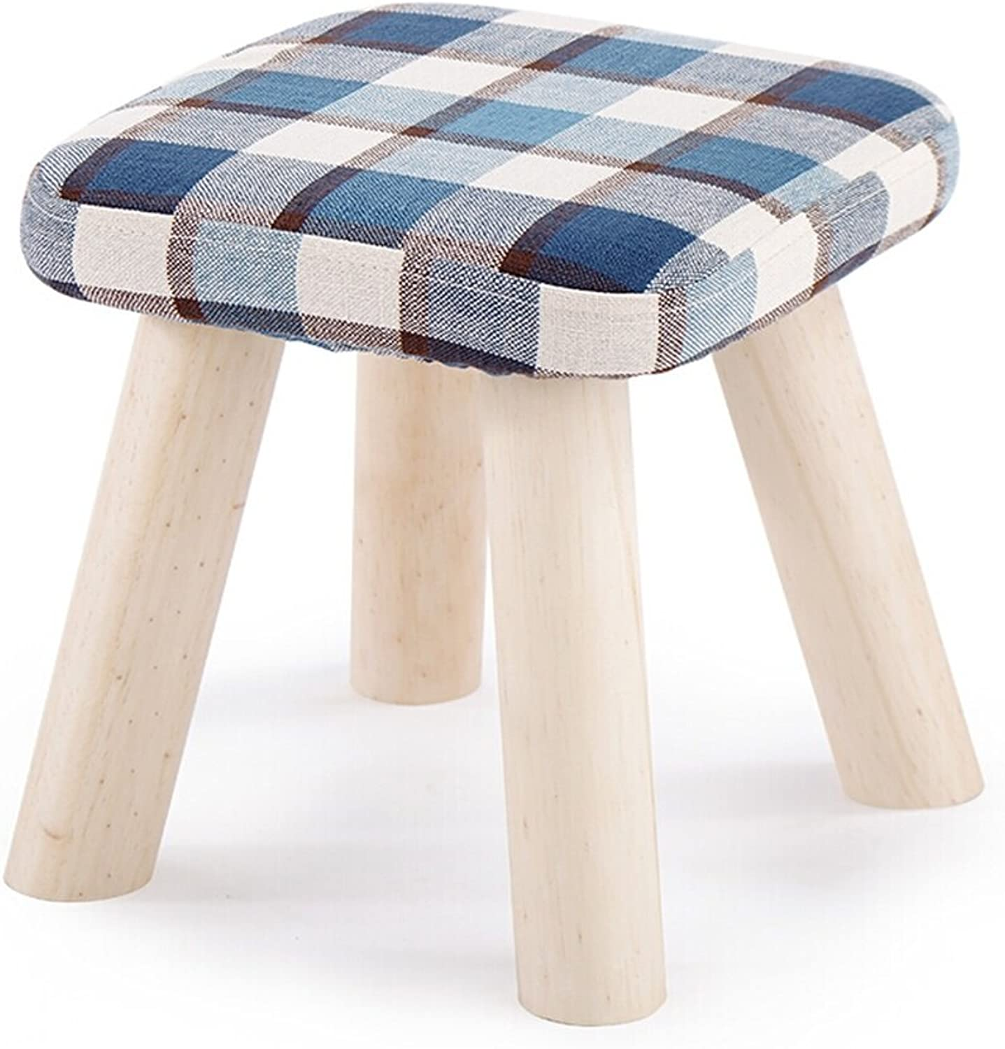 Low Stool Four-Legged Multifunctional Footstool Fabric Sofa Stylish Creative shoes Bench Chair Bench Solid Wood Bedside (color   bluee)