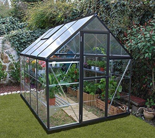 Palram Aluminium Gewächshaus Gartenhaus Hybrid 6x8 250x185x209 cm (LxBxH) Treibhaus & Tomatenhaus zur Aufzucht