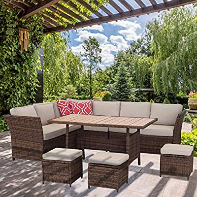 Aoxun 7 Piece Outdoor Furniture Set,PE Hand-Woven Rattan Wicker Sofa Set, Patio Sectional with Dining Table and Cushions & Red Pillows, Brown