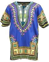KlubKool Dashiki Shirt Tribal African Caftan Boho Unisex Top Shirt (Dark Blue,Small)
