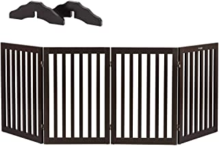 Bonnlo Freestanding Wooden Pet Gate with Foot Supporters for Dogs Puppy Indoor Staircase Doorway Configurable Folding 4 Panel Indoor Wood Doggy Fence/Divider, 83-Inch Width, 30-Inch Height | Espresso
