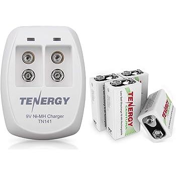Tenergy Premium 9V Batteries Rechargeable High Drain 250mAh NiMH 9V Square Battery for Smoke Alarm//Detector 4 Pack