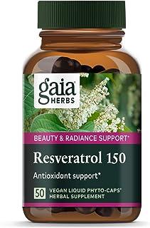 Gaia Herbs Resveratrol 150, Vegan Liquid Capsules, 50 Count - Antioxidant & Cardiovascular Support for Healthy Aging, High...