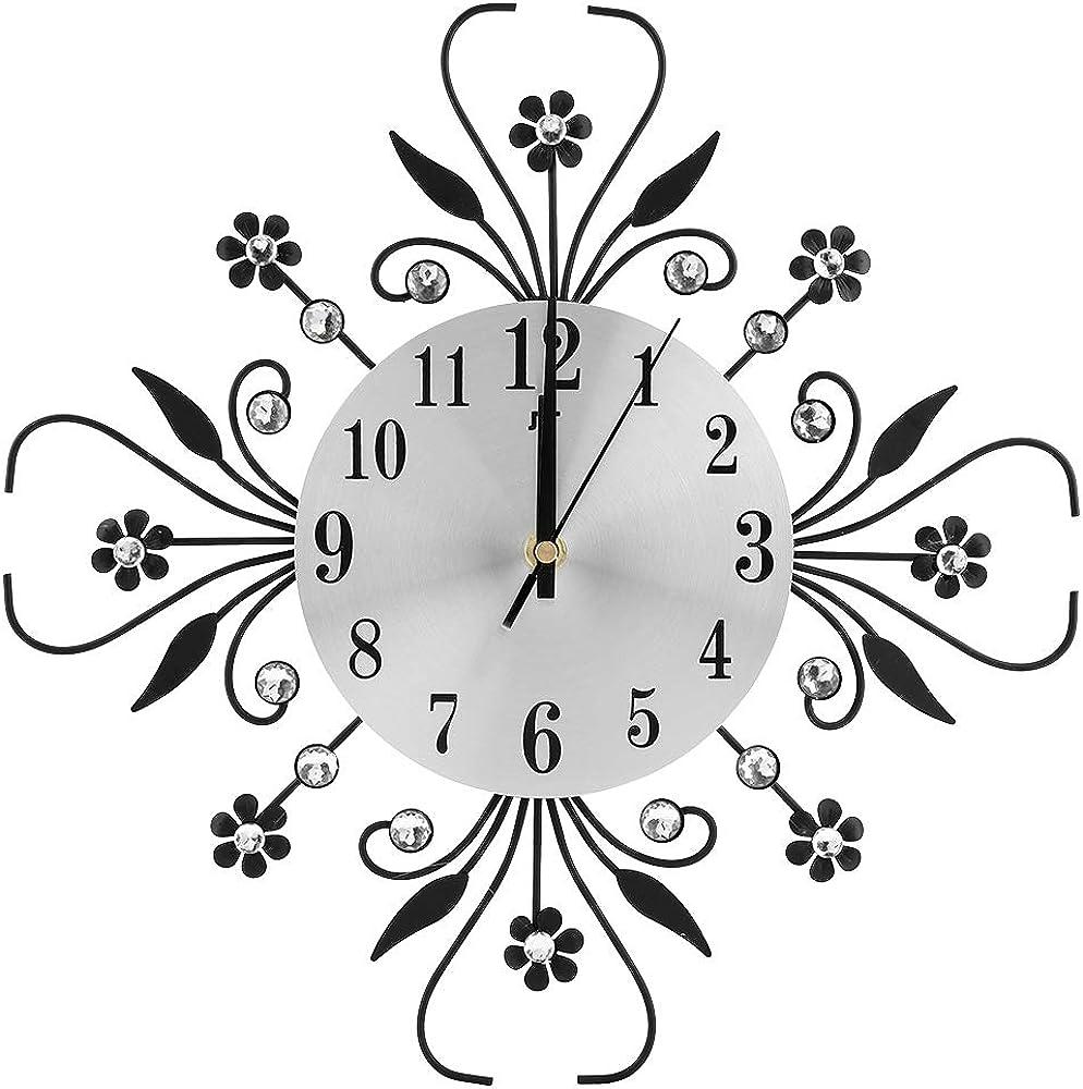 Derclive, orologio da parete, con diamanti a forma di fiore,in ferro creativo 1653490/120204CZXCSY
