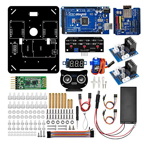 Robot Car Electronics Parts Kit for 4WD Omni Direction Mecanum Wheel Robotic Chassis Compatible for Arduino UNO Mega2560