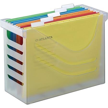 Boîte de Bureau avec 5 Dossiers Suspendus A4, Panier à Dossiers Suspendus, Blanc Transparent, Jalema 2658026000, Silky Touch Office Box, Idéal pour Domicile ou Bureau