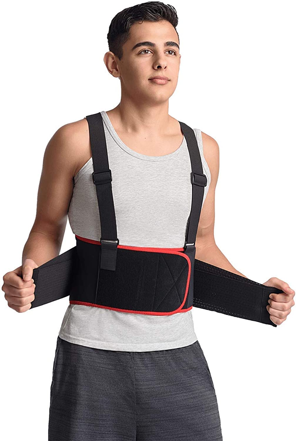 MAXAR Breathable Lower Back Support with Detachable Suspenders IBS3000  Black Medium