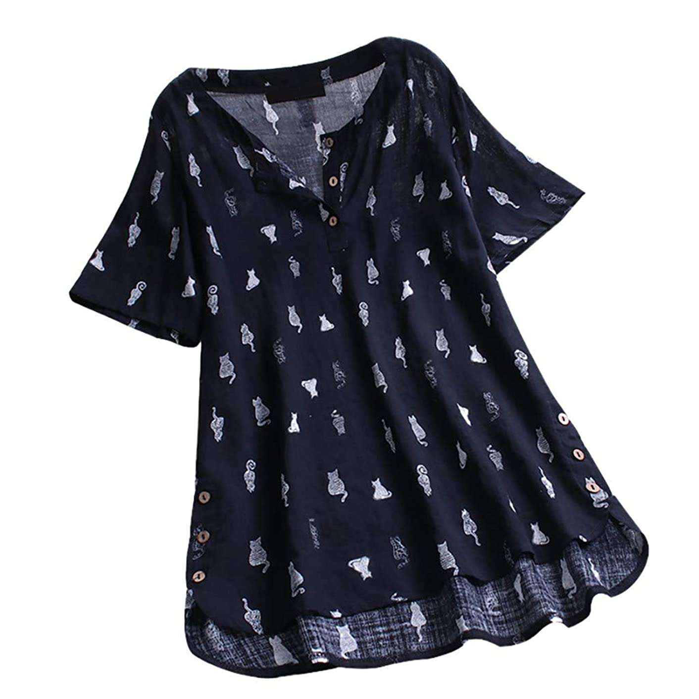 Claystyle Women Vintage V-Neck Casual Cat Print Button Plus Siz Top Blouse T-Shirt