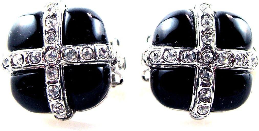 Black Onyx Color & Crystal Clip On Earrings Lead & Nickel Free