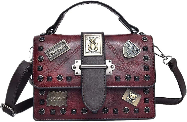 Damen Damen Damen Tasche Umhängetasche Abzeichen Rivet Square Bag Mode Persönlichkeit Pu Handtasche Gules Schultertaschen B07QGW35QF  Sehr gute Qualität cb50d1