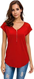 Womens Short Sleeve Zip up Tunic Lace Shoulder Casual Fitting Shirt Blouse Tops