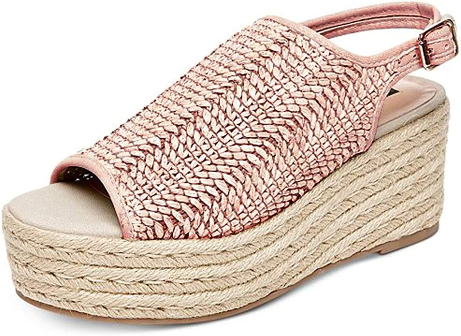 Jessie Women Wedge Sandals Casual Espadrilles Platform Sandals Studded Buckle Ankle Strap Open Toe Sandals