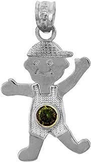 14k White Gold Baby Boy May Birthstone Emerald Pendant