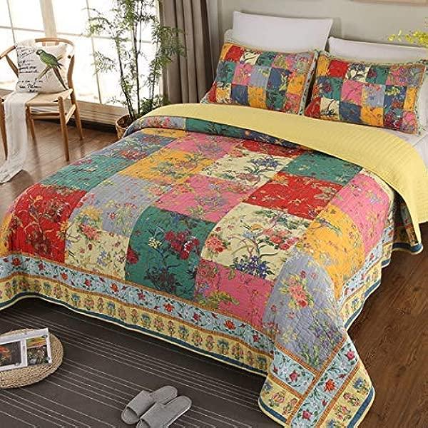 Jessy 家碎花拼布被套纯棉床罩刺绣拼接床罩套装适合四季超柔格子全大号 90x90