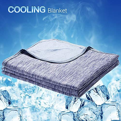 Luxear kühlende Kuscheldecke, mit Q-Max 0,4-Kühlfasern Kühldecke, 2 in 1 doppelseitige Baumwolle Wohndecke, flauschige und weiche Sofadecke Baby Decke Outdoor Decke , 130 x 170cm, blau