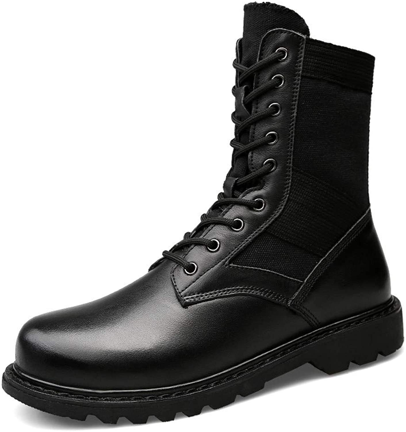 Fuxitoggo Men's Fashion Mid-Calf Boots, Casual in Genuine Leather for Big Martin Boots (Warm Velvet optional) (color  Black, Size  45 EU) (color   As shown, Size   One size)