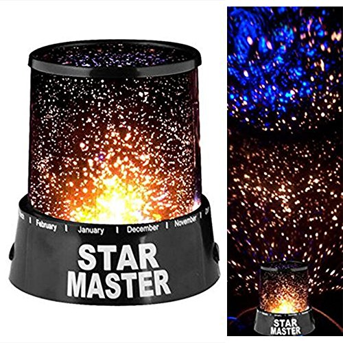 Skitic Lampe de Projecteur Romantique Led Star Master Starry Night Sky Projector Enfants Lampe de Chevet Maison de Chambre Décoration (Noir)