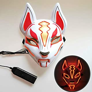 LJFG Halloween LED Mask Glow Fox Mask Christmas Ball Costume Party Role Playing-red