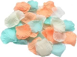 ALLHEARTDESIRES 900 Pack Mixed Pastel Peach Ivory Mint Green Silk Artificial Flower Petals for Wedding Confetti Flower Girl Bridal Shower Girl Birthday Nursery Room Decoration