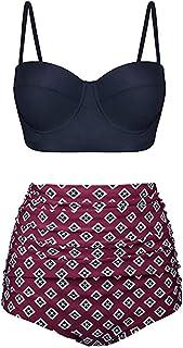 71a43c3f3a Subfamily-Maillots de bain Femme 2 Pièces Bikini Pin Up Vintage à Pois Push  Up
